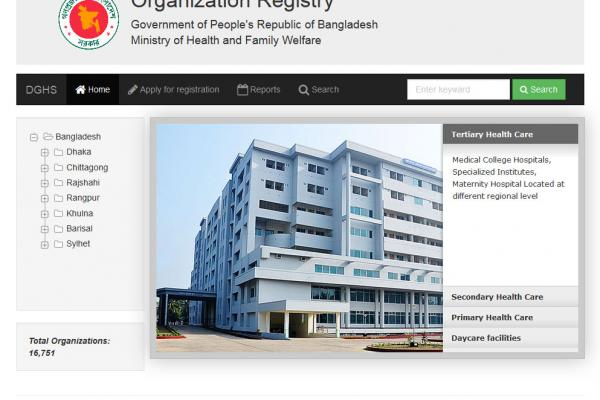 Organization Registry, DGHS, Bd